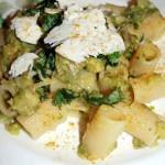 Mezze maniche con crema di zucchine al profumo di curry e ricotta salata sarda