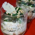 Bicchierini di Fusilli con ricotta e spinacini pinolati
