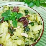 Insalata di patate e pesto con basilico greco