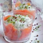 Verrine di Salmone selvaggio KV Nordic con riso basmati, aneto e pepe di Sichuan