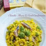Risotto alla curcuma con broccolo romanesco e  sardine piccanti e curcuma